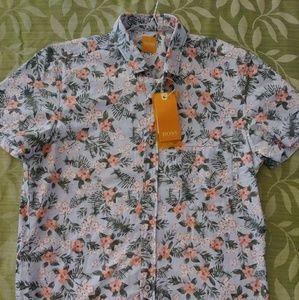 Hugo Boss Orange Floral Print Shirt